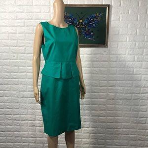 J. Crew Green Sleeveless Peplum Dress 10